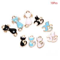 10Pcs/Set Enamel Alloy Cat Charms Pendant Jewelry Finding DIY Craft Making G Fy
