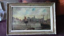 Tableau Peinture Huile sur Carton MARINE signé 19ème parfait état 40x59 Port