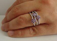 & Amethyst/ Sz 7,9,10/ 925 Sterling Silver Three Row Ring W/ 2 Ct Lab Diamonds
