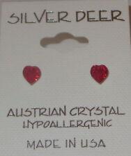 Red HEARTS Austrian Crystal Earrings 5mm Pierced New Mini Hypoallergenic USA