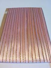 5M 6mm Thin Baby Pink Gold Edged Satin Ribbon Trim Card Making Scrapbooking