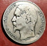 Francia 5 Francos 1852 A Luis Napoleon Bonaparte plata  @ BELLA @