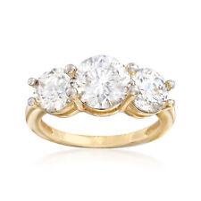 4.00 CT T.W. tres-piedra de circonia cúbica anillo en oro Amarillo de 14kt