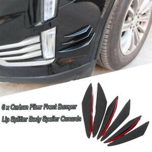 6PCS Car Front Bumper Lip Splitter Canards Carbon Fiber Look Spoiler Fins Refit