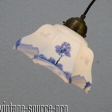 edle Delft Glas Messing Pendelleuchte Deckenlampe Blau Weiß mid Century 50er J.