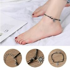 Foot Chain Sun Pendant Beads Charm Beach Leather Multi Layer Women Anklets