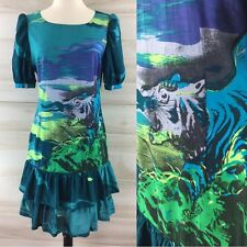 Vintage 80s Lancetti watercolor tiger blue green abstract art shift dress S M