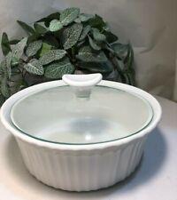 Corningware 1.5 Qt. French White, Stoneware Round Baking Casserole w/Glass Lid