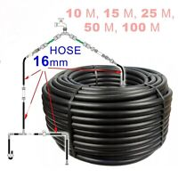 16mm SUPER STRONG LDPE Garden BLACK Hose Pipe Reel Reinforced 4~6 Bar // 10~100m