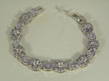 BRACELET:  EXQUISITE LAVENDER TOURMALINE OVAL&ROUND&MARQUISE 925 STERLING SILV