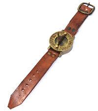 Steampunk Muñeca latón macizo BRÚJULA Y sol- piel auténtica Reloj de pulsera