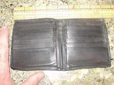 WALLET MENS LEATHER vintage  black panache bi fold pocket cards carry old cash