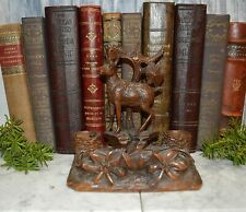 Antique German Black Forest Chamois Hunt Theme Inkwell Dual Pot Carved Wood