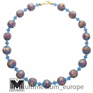 Alte Murano Glas Halskette Blau vintage glass necklace millefiori 50s 🌺🌺🌺🌺🌺
