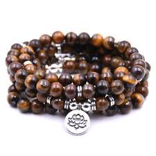 8MM Tiger Eye Stone Buddhist Lotus 108 Prayer Beads Mala Lucky Bracelet/Necklace