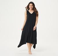 AnyBody Cozy Knit Sharkbite Hem Dress Black Color Size Petite L