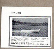 1948 Print Ad Zobel Sea Skiff Boats 17' Skipper,20' Mate Sea Bright,NJ