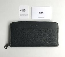 Coach * Men's Long Wallet F12130 BLK Accordion Textured Leather in Black