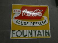 """Porcelain Coca Cola Fountain Enamel Sign 28"""" x 25"""" inches Double Sided"""