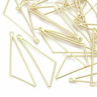 10PCS Alloy Hollow Triangle Big Pendants Geometric Open Back Bezel Charms 57mm