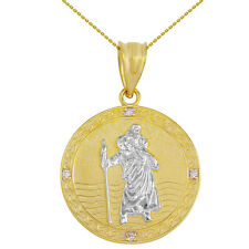 "Two Tone Gold St Christopher Circle Medallion 4 Diamonds 1.16 "" Pendant Necklace"