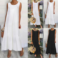 Womens Long Summer Maxi Dress Sleeveless Tunic Casual Baggy Jersey Beach Dresses