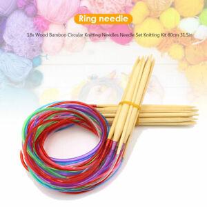 Wood Bamboo Circular Knitting Needles Needle Set Knitting Kit 80cm 31.5in