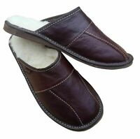 e4d22a89e Mens Sheepskin Slippers Mule Shoes Black Leather Wool Size 7 8 9 10 11 12 13