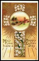 Vintage Postcard Bright Easter Card Gold Metallic Touches Lillies of the Valley