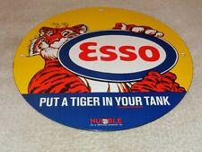 """VINTAGE 1959 ESSO TIGER IN YOUR TANK 11 3/4"""" PORCELAIN METAL GASOLINE & OIL SIGN"""