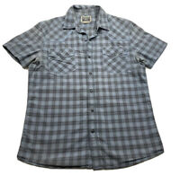 ⭐️Converse One Star Men's Blue Plaid Short Sleeve Snap-up Shirt Size S - Flaw⭐️