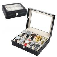 6 10 12 20 24 Slot Leather Watch Box Display Glass Top Jewelry Case Organizer UP