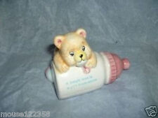 Vintage Bear w bottle Coin Bank babys love is a gift