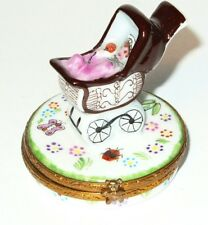 Limoges Box - Baby Carriage In The Park -Flowers- Ladybug -Butterfly- Teddy Bear