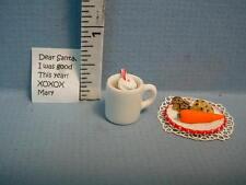 Dollhouse Miniature Hot Chocalate, Cookies, Note to Santa  #SJ560  1/12th Scale