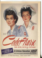 POST CARD WITH WORLD WAR II POSTER BE A CADET NURSE A FREE TRAINING PROGRAM
