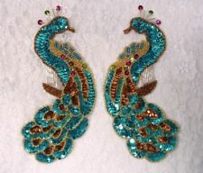 0167 ~ TURQUOISE PEACOCK PAIR SEQUIN BEADED APPLIQUES SEWING CRAFT MOTIFS PAIR
