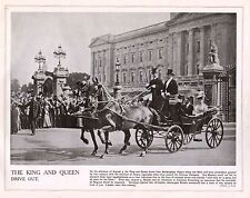 1914 PRINT WWI ~ KING GEORGE V & QUEEN MARY ROYAL CARRIAGE BUCKINGHAM PALACE