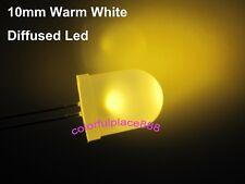 100pcs, 10mm Warm White Diffused Led Round Top Leds Bright 5000mcd Light Lamp