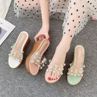 Ladies High Wedge Platform Rhinestone Mules Women Perspex Open Toe Sandals Shoes