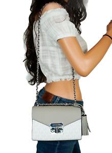 MICHAEL KORS ROSE SMALL MINI CROSSBODY BAG PVC LEATHER MK BRIGHT WHITE/GREY