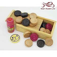 Carrom Game Set Wood Box Case Coins Stricker Powder Carry Case Skill