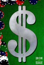 DOLLAR SIGN -- Metal Emblem Stencil Pendant Bling Money Symbol Plasma Cut Out