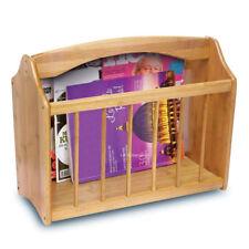 Wooden Magazine Rack Newspaper Floor Standing Mail Shelf Storage Holder Stand Bamboo