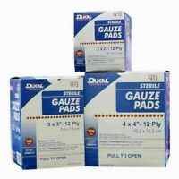 "Sterile 12-Ply 100% Cotton Gauze Pads 100  2x2""  3x3""  4x4"" Sponges Value Packs!"