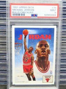 1991-92 Upper Deck Michael Jordan Bulls Checklist #75 PSA 9 Mint Bulls (84) D262