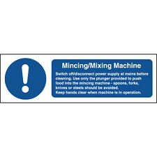 Mincing/Mixing Machine Safety Sign - Part No. W270