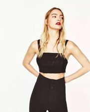 Zara Size Small Black Lace Crop Top Bralet Strappy BNWT 8 10