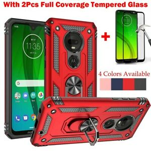 For Motorola Moto G7 Power/G Stylus 2021 Ring Stand Case With Screen Protector