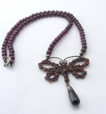 Antique Victorian Garnet & Opal Butterfly Necklace ca. 1880/1910
